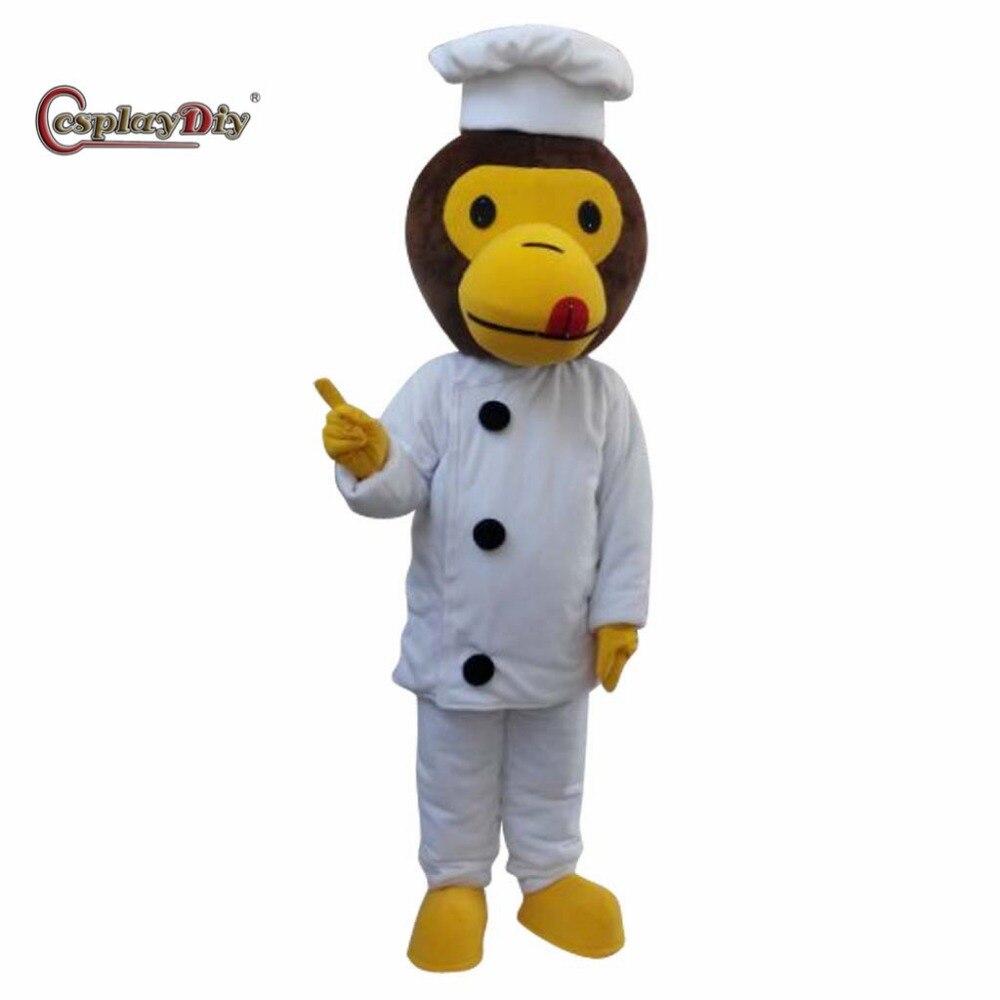 CosplayDiy professionnel beau singe cuisinier Chef mascotte Costume dessin animé mascotte Costumes pour adulte unisexe Halloween partie de noël