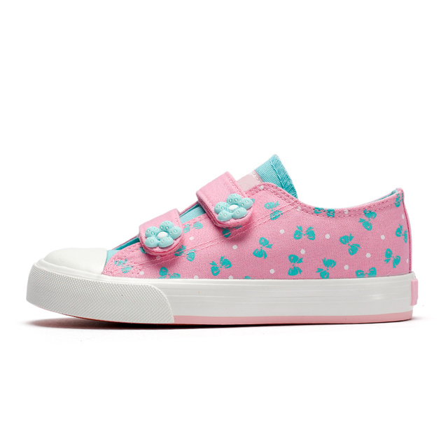 New Kids Shoes For Girls Fashion Children Canvas Shoes Floral Cute Bow Printed Kids Sneakers Breathable Baby Girls Shoes