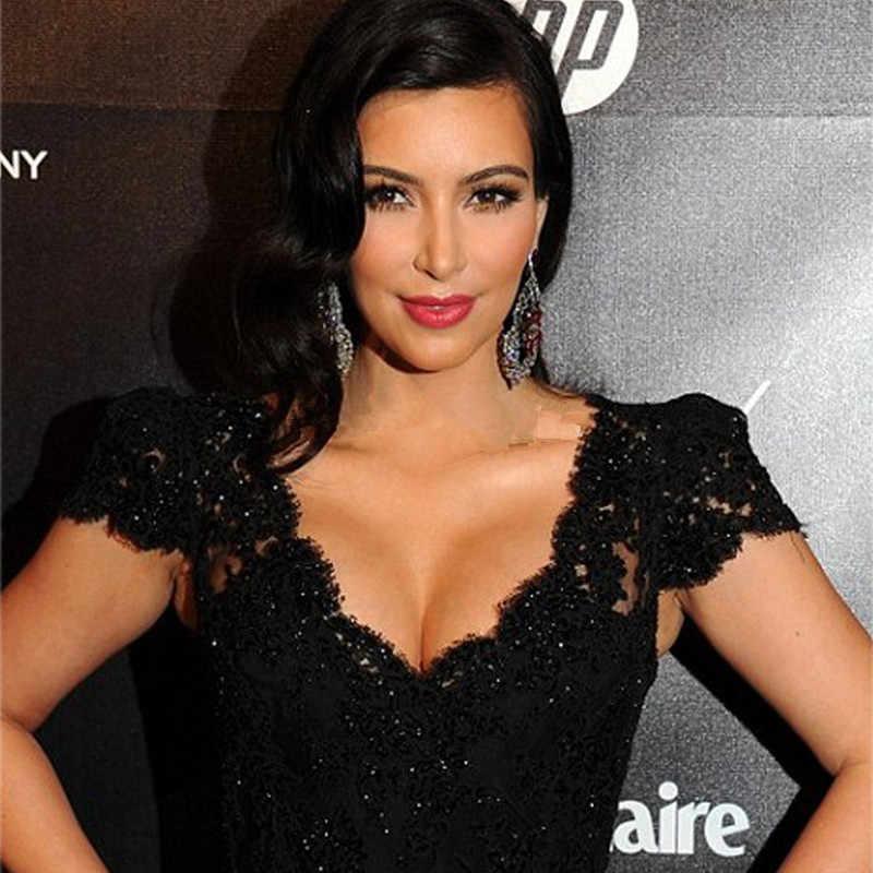05ae6d594 Free shipping Kim Kardashian Black Sequined Beaded Mermaid Lace Red ...