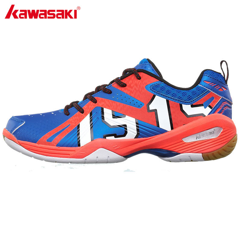 KAWASAKI K-515 Lace Up Men Sneakers Indoor Court PU Leather Professional Badminton Shoes Women Sports Shoe Free Gift Socks 100% original kawasaki badminton shoes men and women badminton training shoes whirlwind series k 515 516