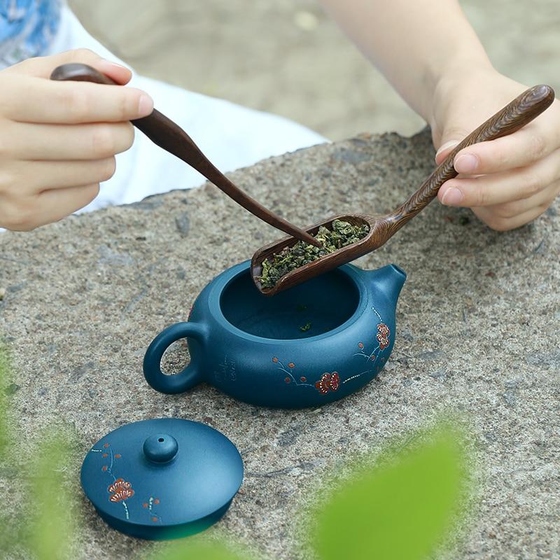ييشينغ إبريق الشاي الشهيرة نقية أصيلة اليدوية الأخضر Muds يوم واضح الطين شقة شى شى 170cc 9 حفرة أقداح الشاي الصينية Gongfu التي الشاي-في اباريق الشاي من المنزل والحديقة على  مجموعة 3