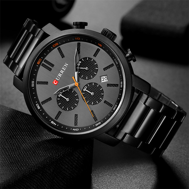CURREN Men Watches For Gifts Top Brand Luxury Fashion Waterproof Chronograph Calendar Stainless Steel Sports Military Male Clock