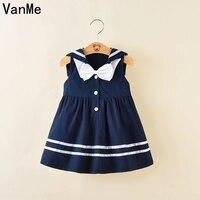 VanMe 2017 Retail Fashion Baby Girl Dress Sleeveles Kids Summer Dresses Girls Brand Dress Navy Blue