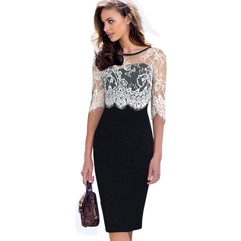 OUFANGMEIYI Store Women Vintage O Neck Patchwork Office Business Eyelashes Dress Sexy Visible White Mesh Lace Sleeve Sheath Bodycon Dresses 935