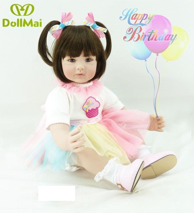 60 cm Silicone Reborn Bébé Poupée Jouets 24 pouces Princesse Toddler bebe lol d'origine poupée à collectionner Brinquedos jouer maison jouets lol