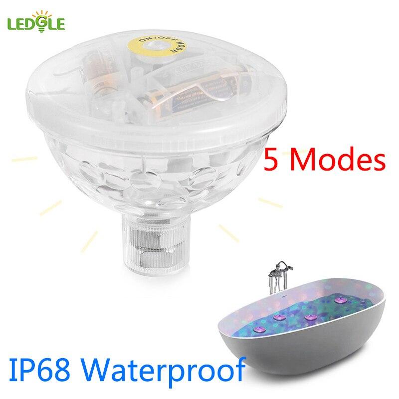 LEDGLE IP68 Waterproof 5 Modes Underwater Light Floating Underwater LED Disco Light Glow Show Swimming Pool Hot Tub Spa Lamp