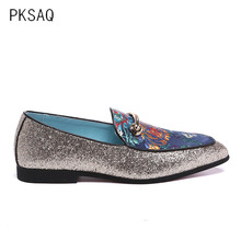 Spring Summer New Men Shoes Retro Embroidered Flat with Single Pointed Fashion Sequins Low Help Foot Peas