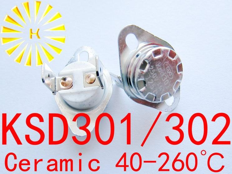 Купить с кэшбэком 5pcs x KSD302 16A 40-260 degree Ceramic 250V KSD301 Normally Open/Closed Temperature Switch Thermostat Resistor