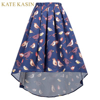 Kate Kasin Women 50s 60s Style Retro Vintage Birds Pattern Skirts Pleated A Line High Low