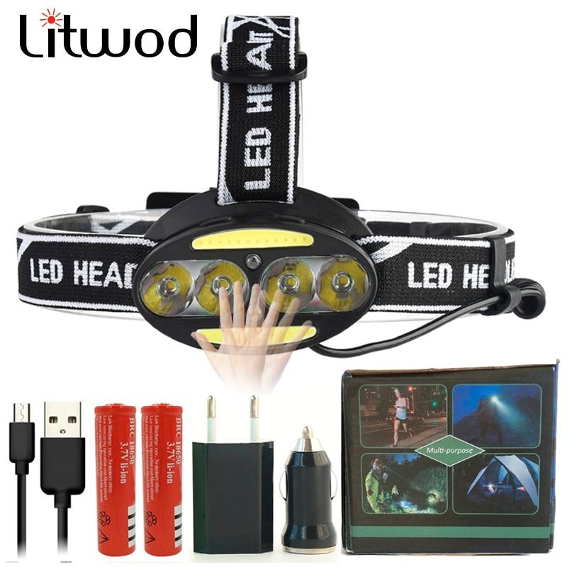 Z20 Led headlight headlamp Sensor Head lamp 4pcs XML T6 & COB Chip Micro USB rechargeable Night Fishing Head flashlight torch