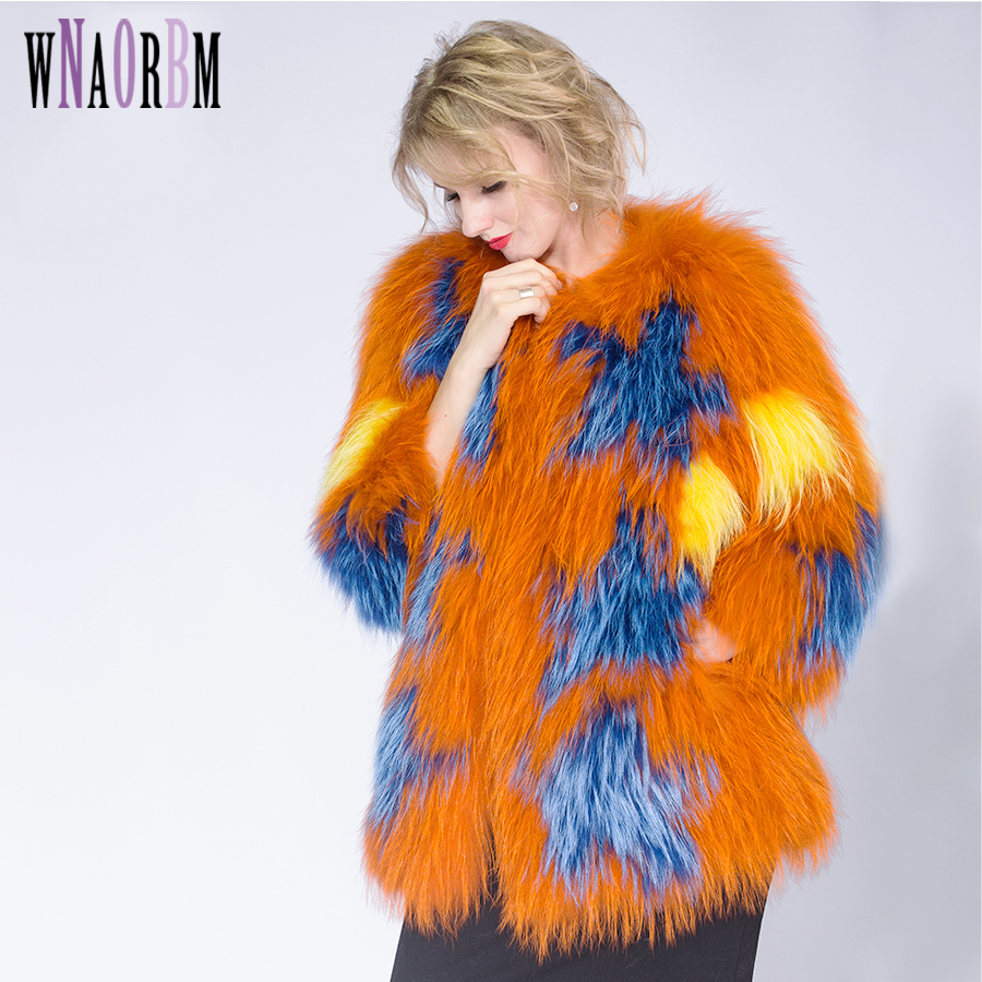 2020 Knitted Fashion Jacket Womens  Raccoon Dog Fur Coat Tan Sheep Fur Coats Short  Jacket Real Fur Coat Manteau Fourrure Femme