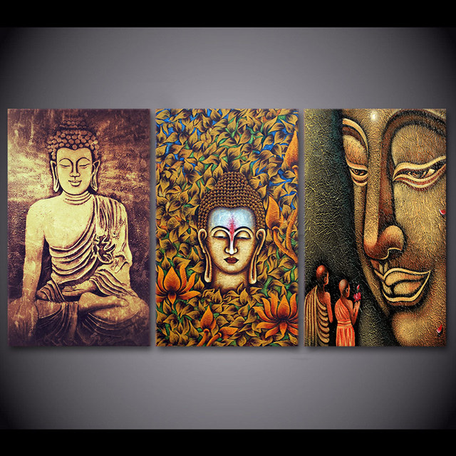 3 Pcs/Set Framed HD Printed Color Buddha Canvas Oil Painting Cuadros ...