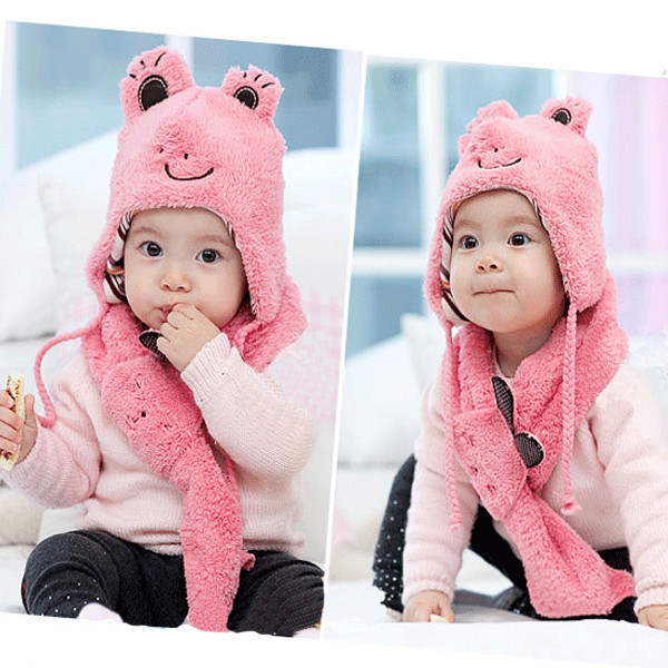 Kids Baby Children Cute Frog Hat+Scarf 2 Pcs Set Cashmere Animal Cap 1-6 Years