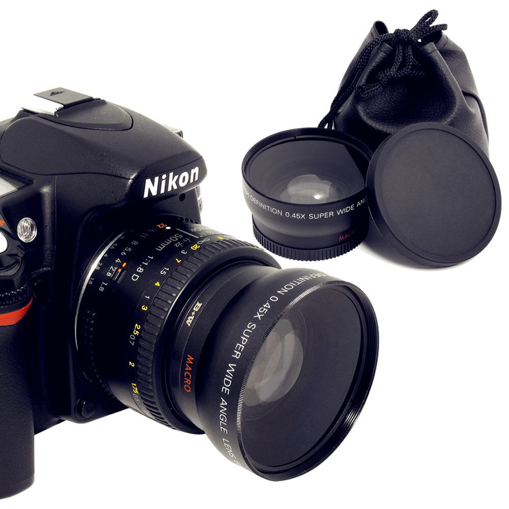 52MM 0.45x Wide Angle Lens+Macro lens for Nikon Cannon DSLR Cameras with 52MM Lens Thread With Lens Bag image