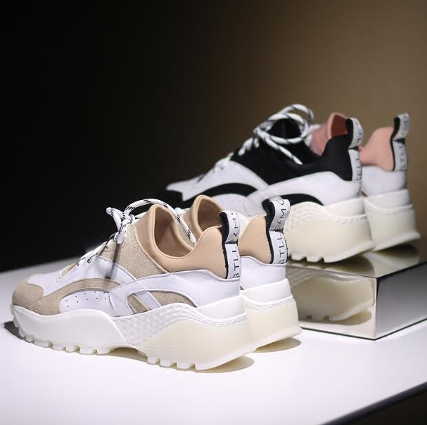 High Quality Walking Shoes Ins the Hottest Shoes Female Thick Sports Shoes Leather 2018 Spring New Wild Increased Sneakers WK38 high quality walking shoes thick crust sneakers female ins the hottest shoes 2018 new small white women s sport shoes wk46