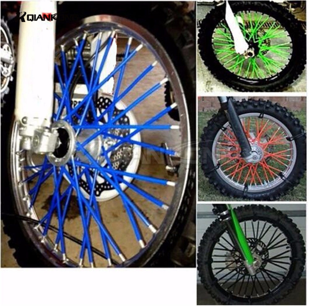 72 pcs Universal Moto Off Road Wheel RIM Spoke Skins covers for ktm XC f DR DRZ RM RMX REMZ 85 125 250 Suzuki Kawasaki Yamaha yz