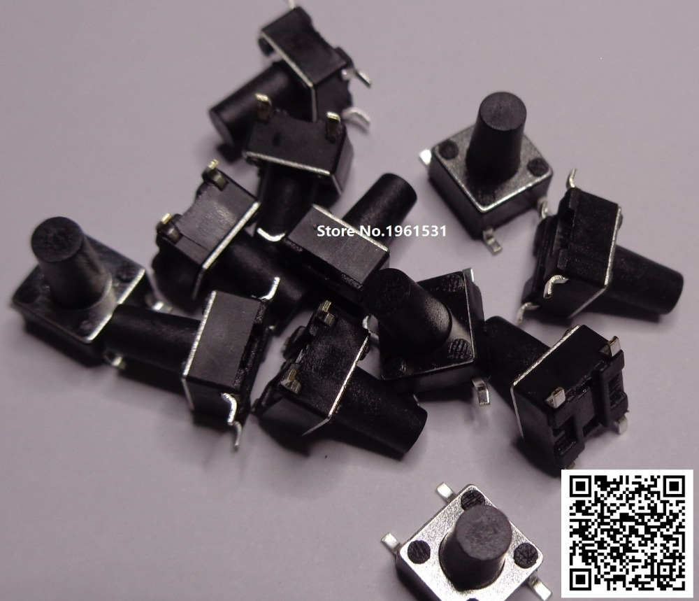 6*6mm 6X6X5mm-13mm SMD Tactile Tact Mini Push Button Switch Micro Switch Momentary SMD-4 6X6X5/6/7/8/9/10/11/12/13mm 50PCS/lot 6