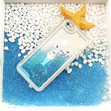 For iphone 6 Case Dolphin Penguin Polar Bear Ocean Blue Liquid Quicksand Glitter Case For iphone 7 7plus 6plus 5 5S 6S Samsung