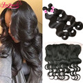 7A Indian Body Wave Hair 3 Bundles With 13x4 Ear to Ear Lace Frontal Closure Cheap Indian Virgin Hair With Closure Human hair