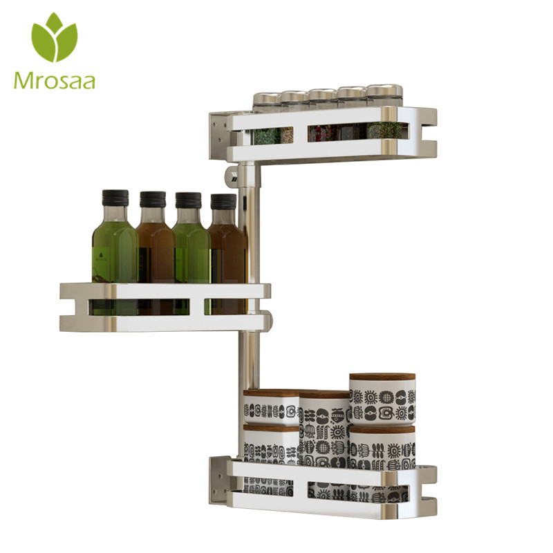Mrosaa étagère d'angle mobile 2/3 niveaux cuisine salle de bains étagères 304 acier inoxydable Double couches coin support de stockage Rack