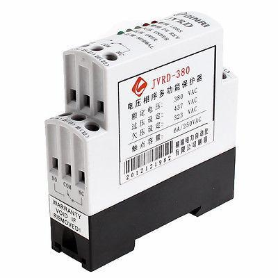 AC 380V 1 NO 1 NC Black White Shell Phase Failure Phase Sequence Protect Relay vj5 lcd display phase failure sequence unbalance protective relay 3 phase and voltage relay