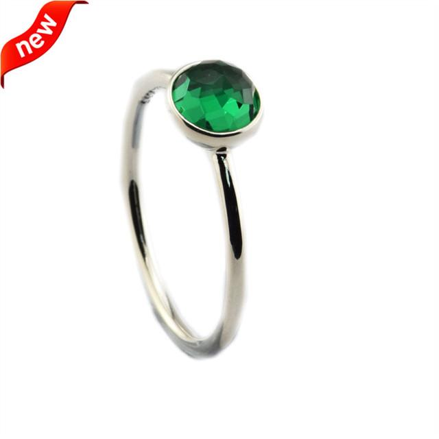 Puede Gota Anillos Con Royal Green Crystal 100% Joyería de Moda Plata de Ley 925 Envío Gratis