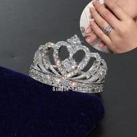 Donne di Modo di marca Corona anello in Argento sterling 925 AAAAA zircone cz Finger Wedding band Anelli per le donne