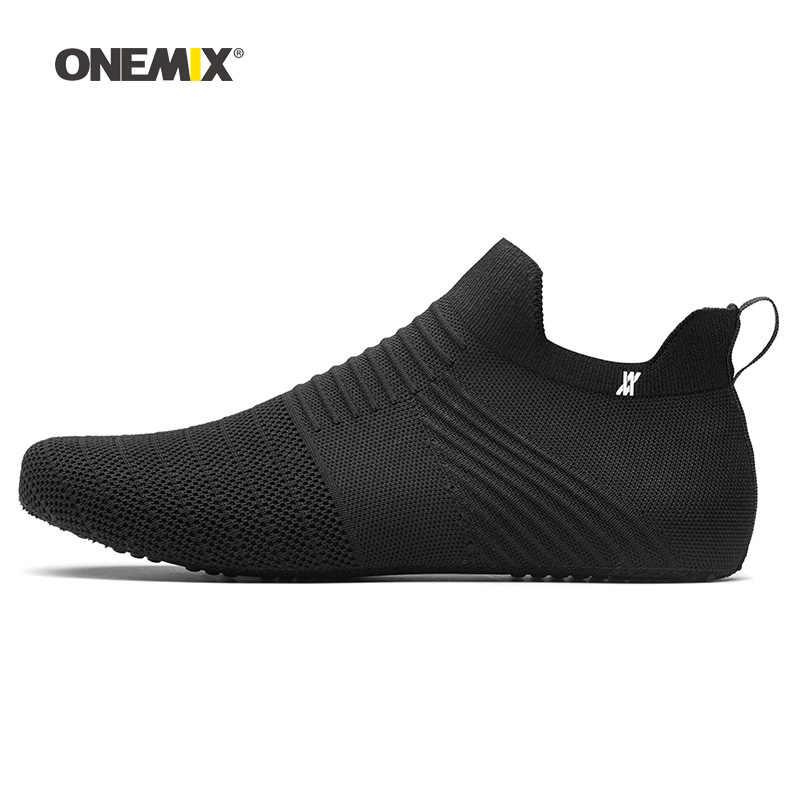 Onemix ชายรองเท้าผู้ชายสีดำหนังไมโครไฟเบอร์ Designer Trail วิ่งรองเท้าผ้าใบกีฬากลางแจ้งถุงเท้า Trainers