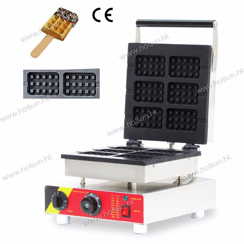 Commercial Electric 110V 220V Nonstick Belgian Liege Waffle on a Stick Lolly Waffle Maker Iron Machine Baker 1pc np 511 110v 220v electric commercial nonstick heart shape lolly waffle stick maker iron machine baker stainless steel 1 5kw