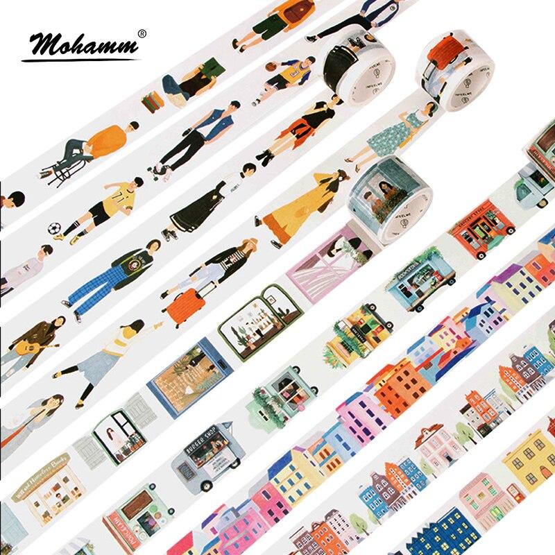 24-estilo-criativo-moderna-as-pessoas-da-cidade-a-vida-diaria-decorativo-washi-fita-adesiva-diy-fita-adesiva-scrapbooking-escola-material-de-escritorio
