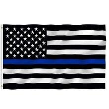 150*90 см тонкие синие полосы флаги США втулки полицейские флаги черные белые синие флаги