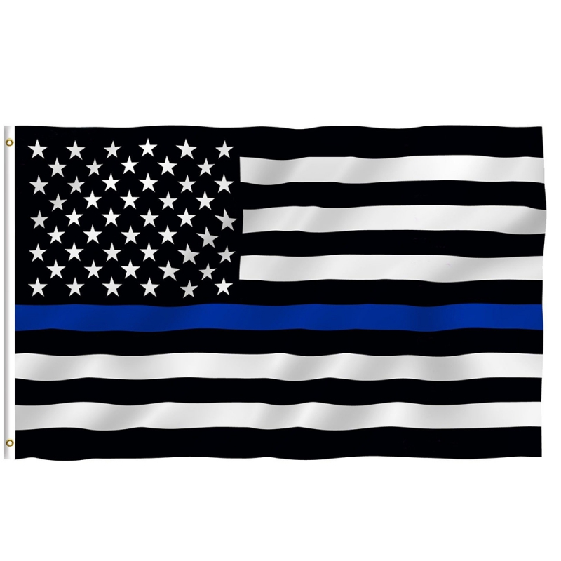 150*90 cm Subdued Thin Blue Line Stripes USA Flags Grommets Police Cops Flags Black White Blue Flags wallet