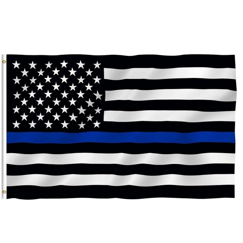 150*90 cm tamisé mince ligne bleue rayures USA drapeaux œillets Police flics drapeaux noir blanc bleu drapeaux