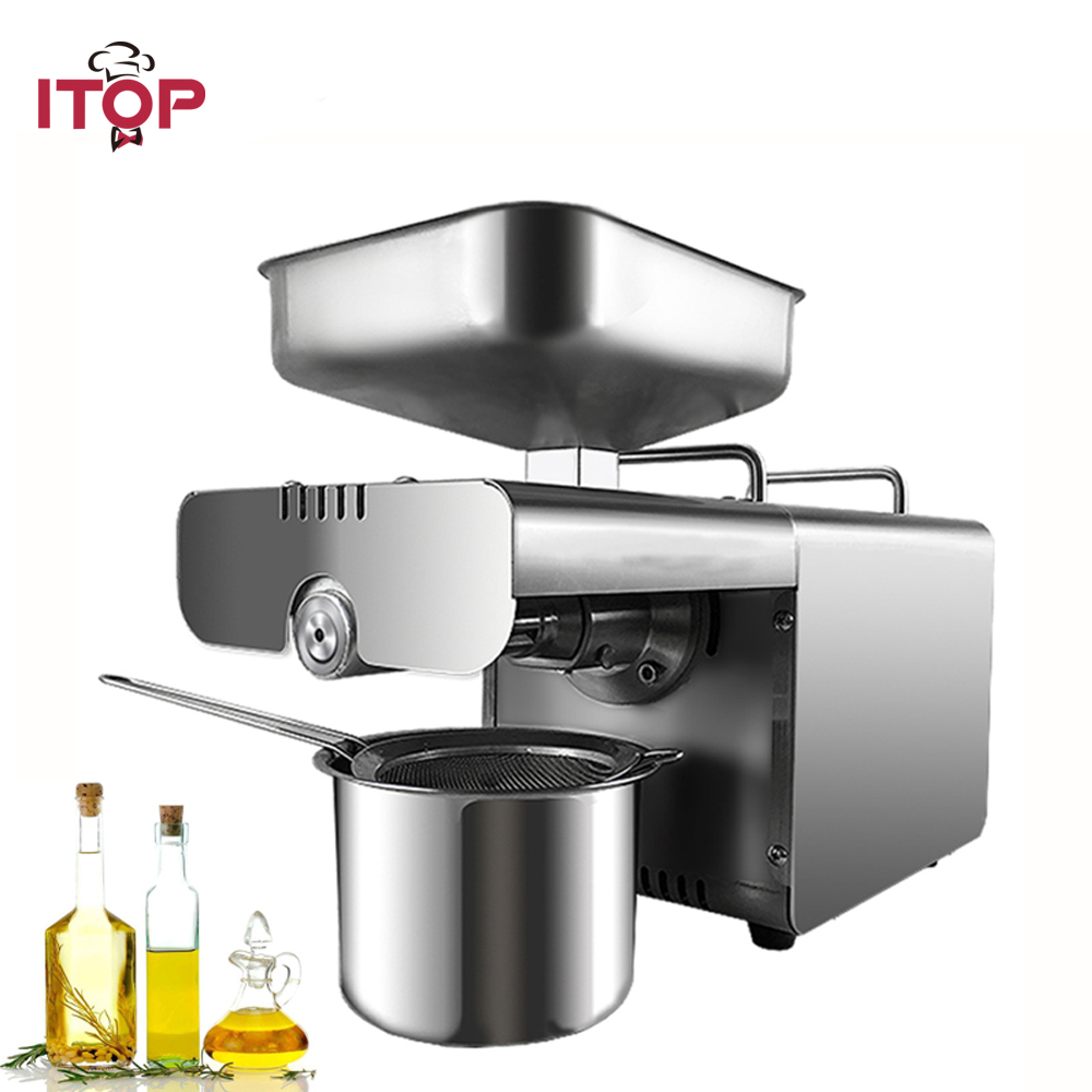 ITOP Commercial Oil Press Machine, Automatic Peanut, cocoa soy bean oil press ,450W oil expeller EU/US Plug 110 240v commercial small oil press machine peanut sesame cold press oil machine high oil extraction rate cheap price
