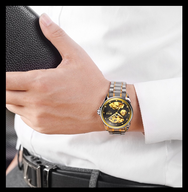 HTB1R.wZblOD3KVjSZFFq6An9pXaM Men's Watches Automatic Mechanical Gold Watch Male Skeleton Dial Waterproof Stainless Steel Band Bosck Sports Watches Self Wind