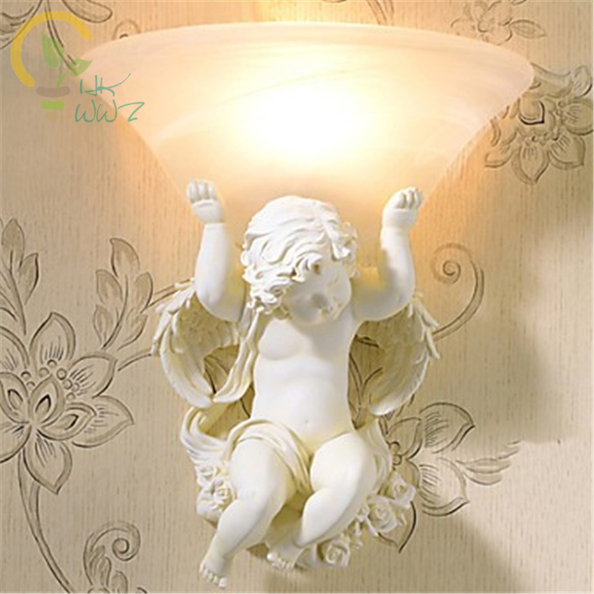 European Style Cupid Angel Wall Lights For Home Lighting Hand-painted Resin Lamp LED Wall Sconce Indoor Lighting Lampara ParedEuropean Style Cupid Angel Wall Lights For Home Lighting Hand-painted Resin Lamp LED Wall Sconce Indoor Lighting Lampara Pared
