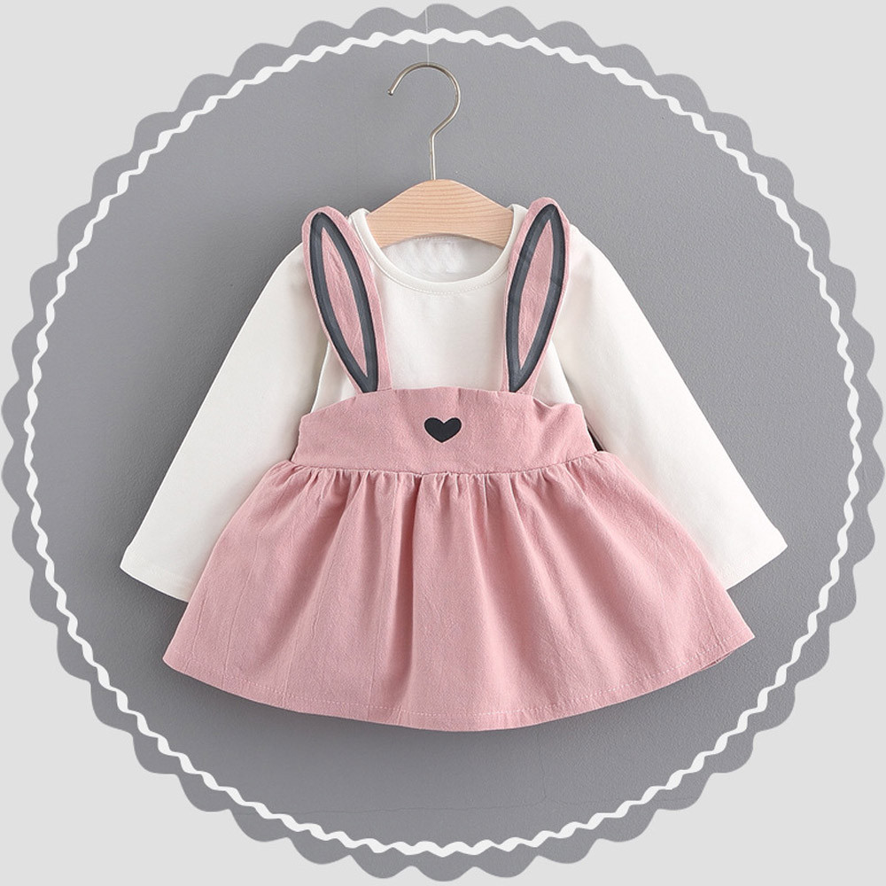 Telotun Kid Girl Fairy Tale Rabbit Kingdom Princess Pink Dress 2018 Cute Bandage Suit Mini Dress For 0-3 old Girls