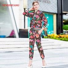 VEVEFHUANG alta calidad 2018 otoño nuevo traje de moda para mujeres estampado Floral 3/4 manga sudadera + Pantalones casuales conjunto