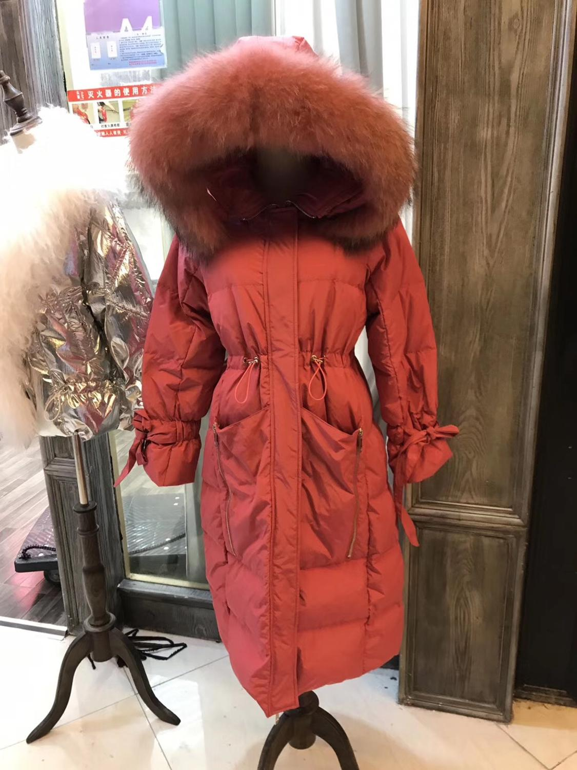 New arrival big real fur collar hooded white duck   down     coats   female winter zipper stitching pockets thicker long warm   down     coat
