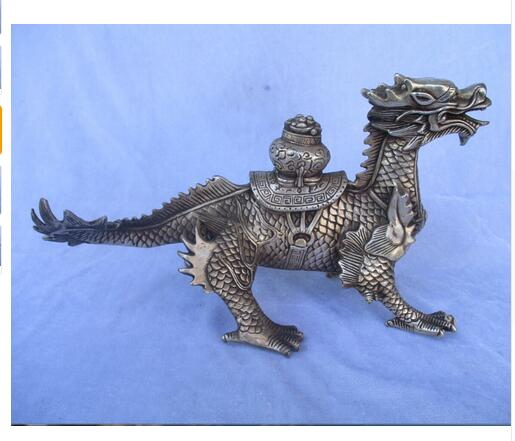 Old Handwork Tibet Silver Carved Lucky Dragon Statue/Big Monkey Dragon sculpture Tibet Silver decoration bronze factory