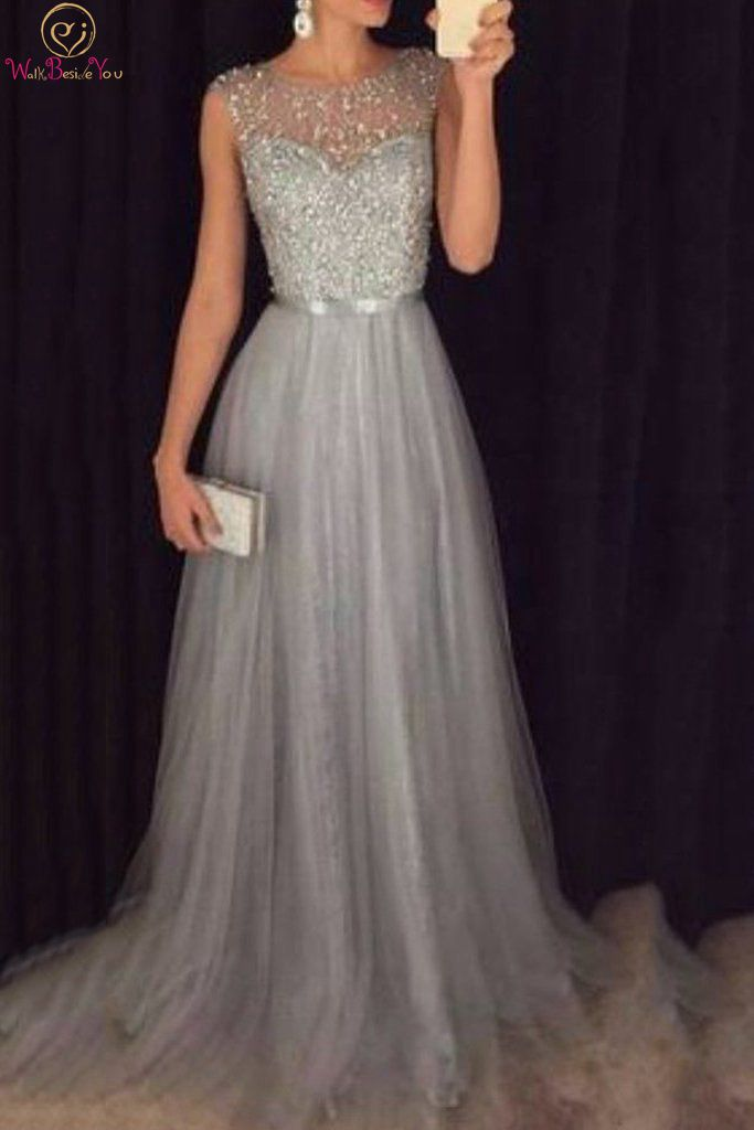 Summer Crystal Prom Dresses 2019 New A Line Sleeveless O Neck Floor Length Long Prom Dress Off The Shoulder Formal Evening Gowns