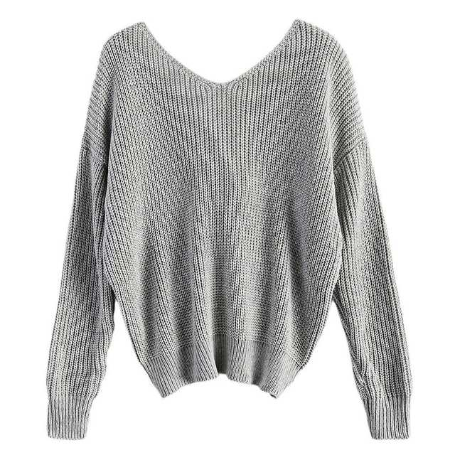 Casual V Neck Twisted Back Sweater 1