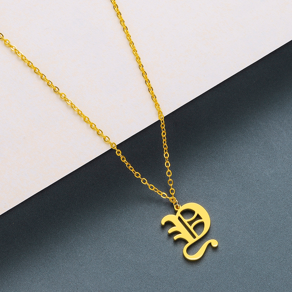Todorova Old English Custom Capital Initial A-Z Letter Pendant Necklace Men Vintage Font Personalized Necklace Women Jewelry 73
