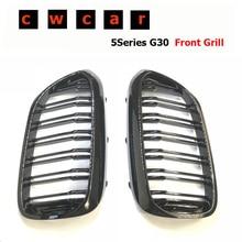 Для BMW 5 серия G30 G38 M5 спереди гонки гриль 2 плавник ABS глянцевый черный м сменная решетка радиатора 520i 530i 540i