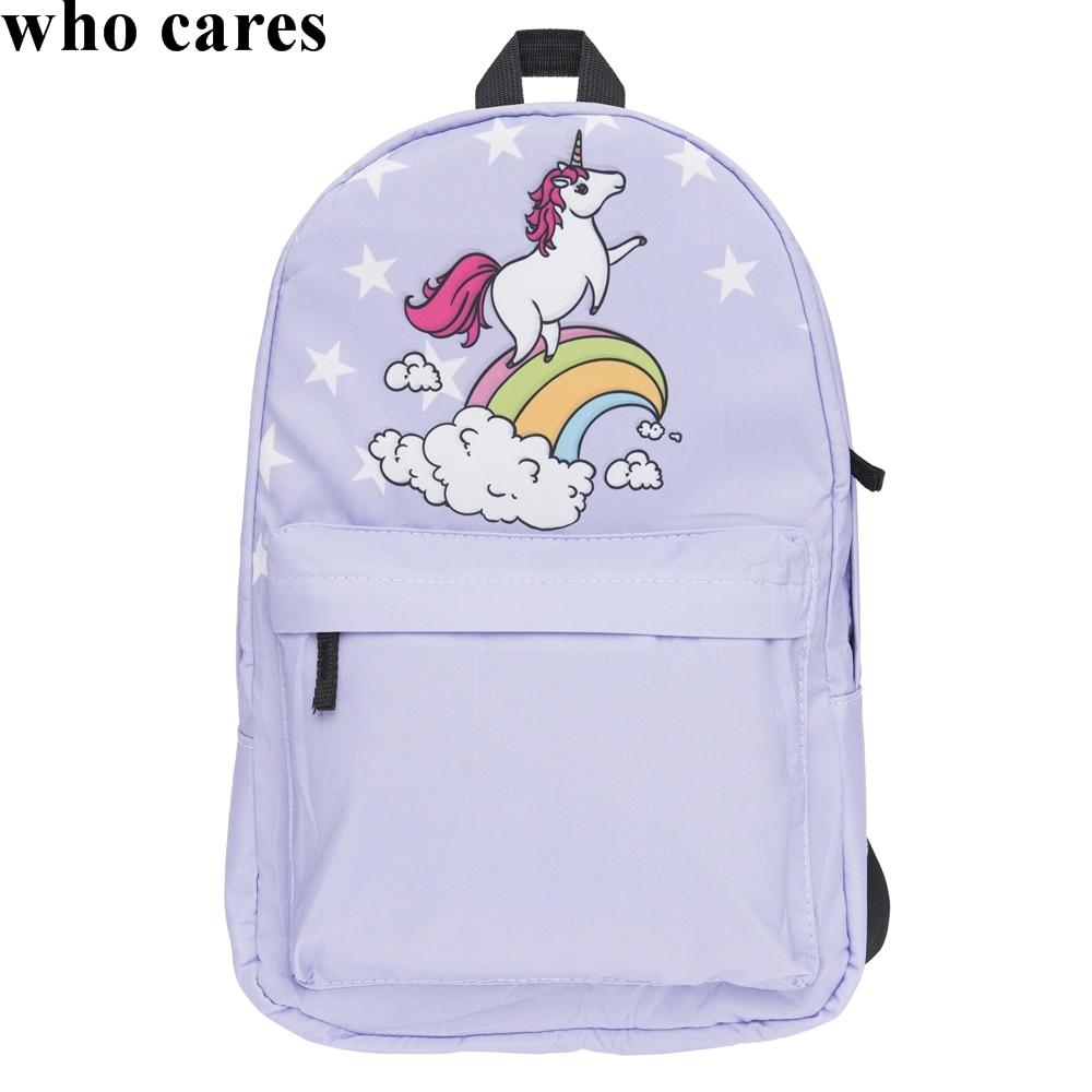 50fe41e3a59 Unicorn White Stars Printing Backpack Mochila Bookbag School Teenage Girls  Sac A Dos Canvas Backpacks