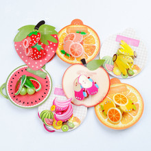 2017 New Arrivals 4Pcs Girls Hair Clip Fruit Hair Bnad Kids Acrylic Crystal Rhinestone Hair Accessories