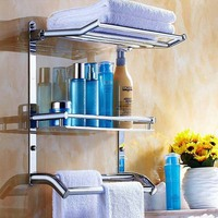 Quality Dayton Sanitary Stainless Steel Bathroom Shelves Towel Racks Trip lier Storage Shelf Metal Hanging Free shipping KF157