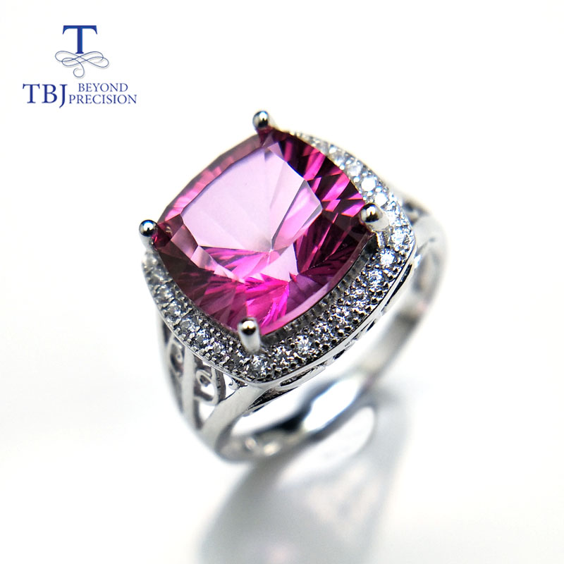 TBJ,Romantic natural pink topaz gemstone jewelry set in 925 sterling silver best ring pendant earring for women daily party wear