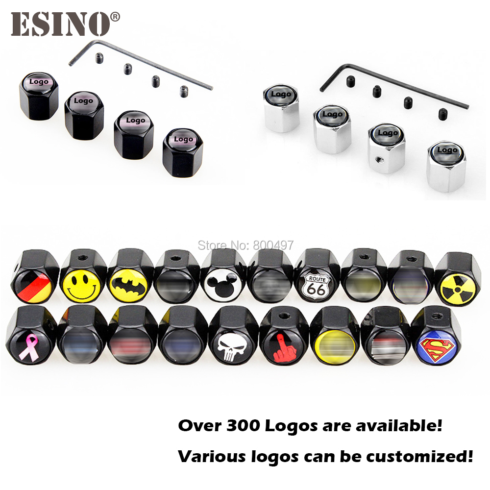4 X Car Styling Anti-theft Stainless Wheel Tire Valve Stems Caps Car Wheel Tire Stem Air Valve Caps For All The Vehicles