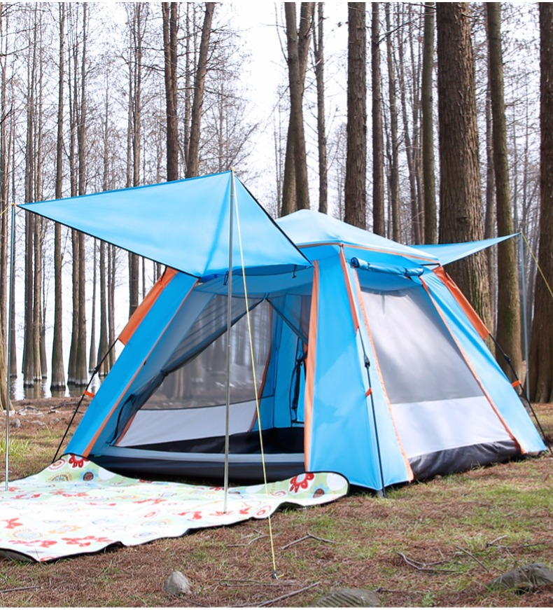 Fully automatic double layer black plastic coated silver glue thickened sunshade rain 5 8 people outdoor camping picnic tent - 3